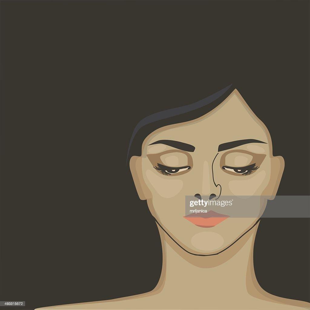 Young, sad woman with dark hear