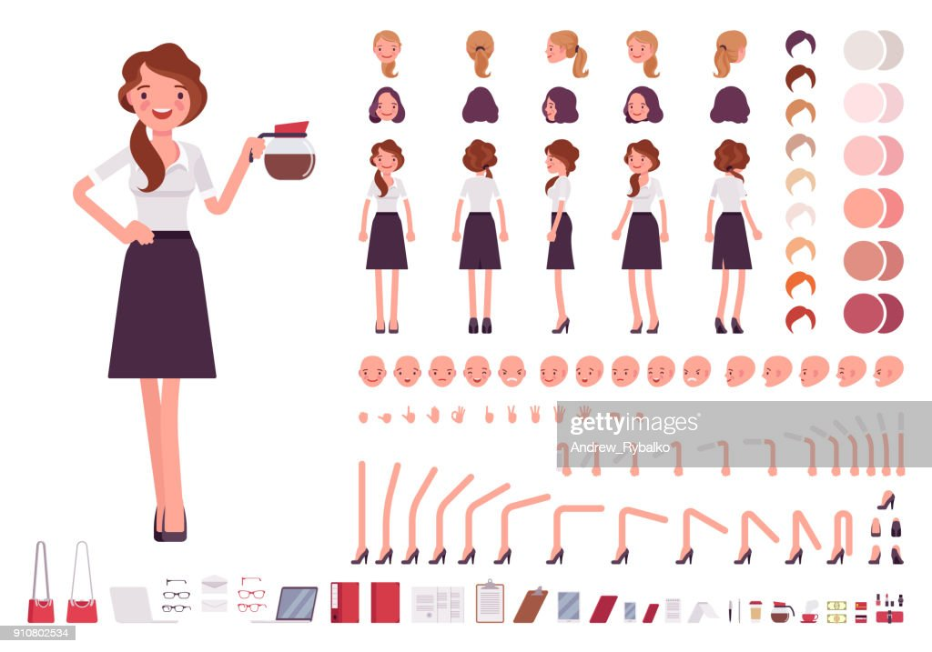 Young secretary character creation set