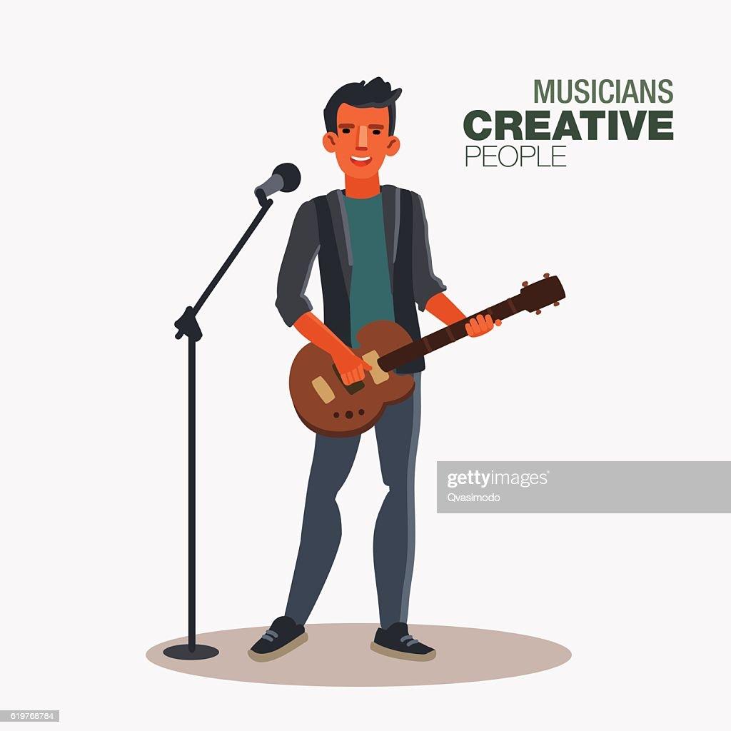 Young singer man playing guitar. Creative people