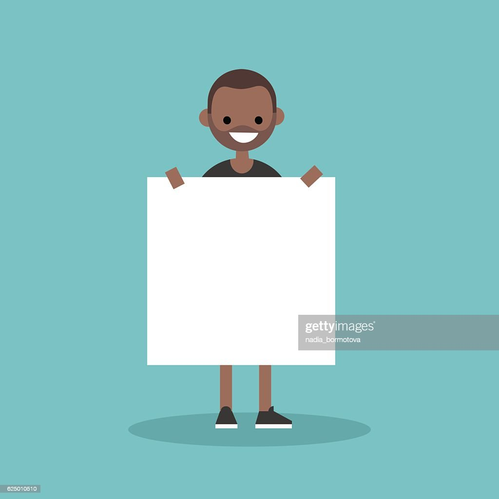 Young smiling black man holding a blank board mock up