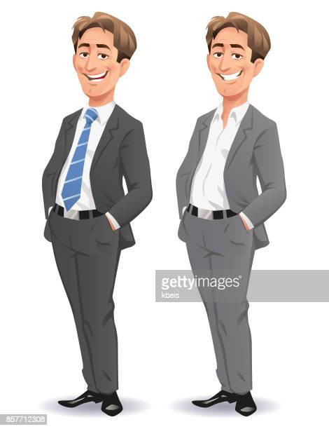 young smiling businessman - hip body part stock illustrations, clip art, cartoons, & icons