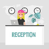 Young smiling concierge standing behind the reception desk. Hotel lobby. Tourism. Flat editable vector illustration, clip art
