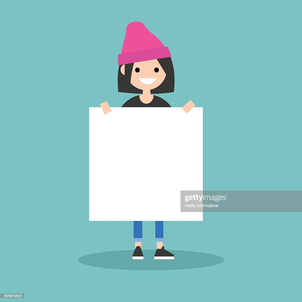 Young smiling girl holding a blank board mock up