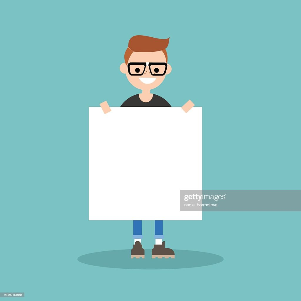 Young smiling nerd holding a blank board mock up