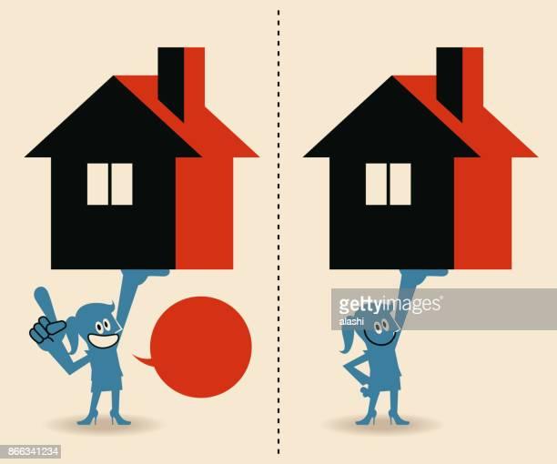 illustrations, cliparts, dessins animés et icônes de jeune femme d'affaires fort grand modèle de maison dessus tête de levage - vendre