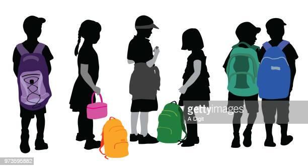 illustrations, cliparts, dessins animés et icônes de jeune étudiant backpack flair - assistante maternelle