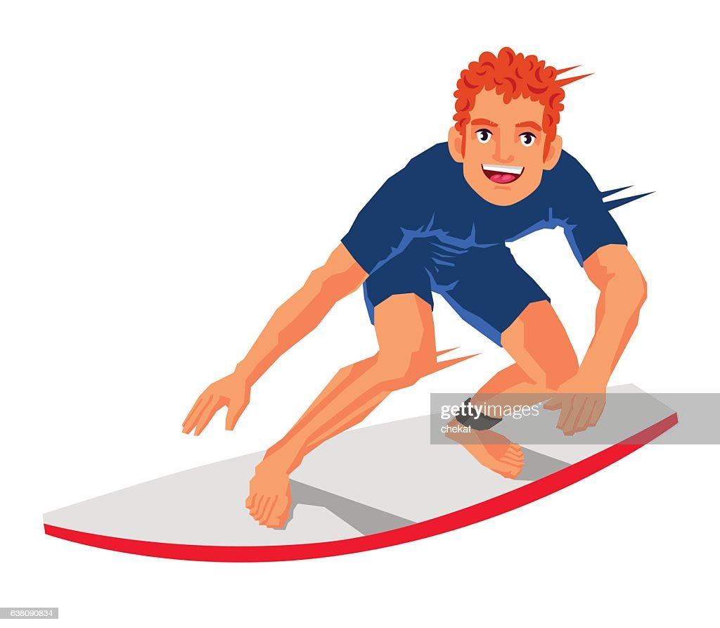 Young surfer standing on the board