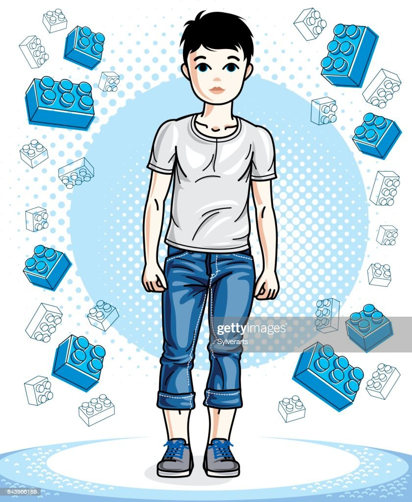 Young teen boy cute nice standing in stylish casual clothes. Vector beautiful human illustration. Childhood lifestyle clip art.