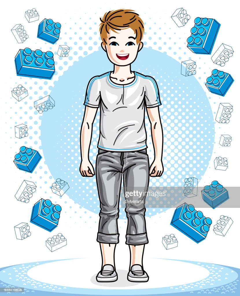 Young teen boy cute nice standing wearing fashionable casual clothes. Vector kid illustration. Childhood lifestyle clip art.