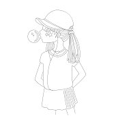 Young teen girl in a baseball cap with headphones blowing bubblegum line icon. Little girl vector cartoon pencil drawing illustration. Teenage girl, rebel girl illustration. Pre teen rebel grl