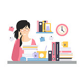 Young tired businesswoman character sitting at the desk having a lot of work with documents, daily life of office employee vector Illustration