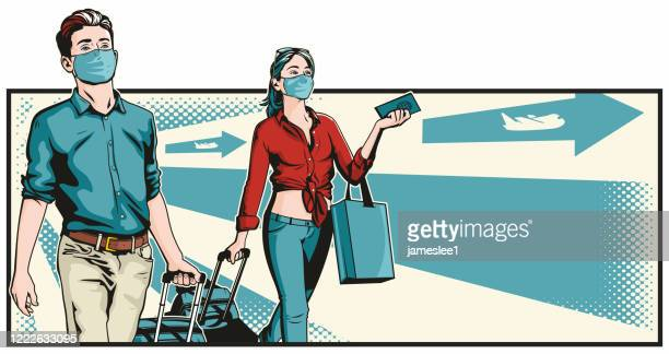young travellers with face masks - woman wearing protective face mask stock illustrations