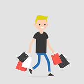 Young trendy character walking with the shopping bags / flat editable vector illustration