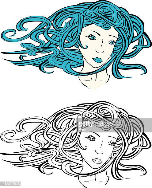 young venus girl with flowing hair illustration - aphrodite stock illustrations, clip art, cartoons, & icons