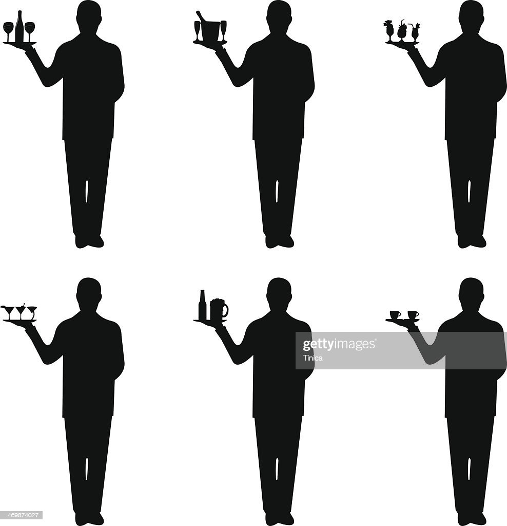 Young waiter with tray and different drinks