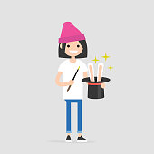 Young wizard holding a hat with the rabbit ears inside. Magic wand. Flat editable vector illustration, clip art