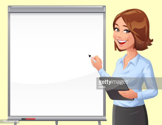 young woman at whiteboard - instructor stock illustrations