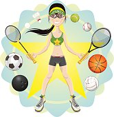 young woman athlete exercising sport game