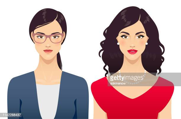 young woman beauty transformation - human face stock illustrations