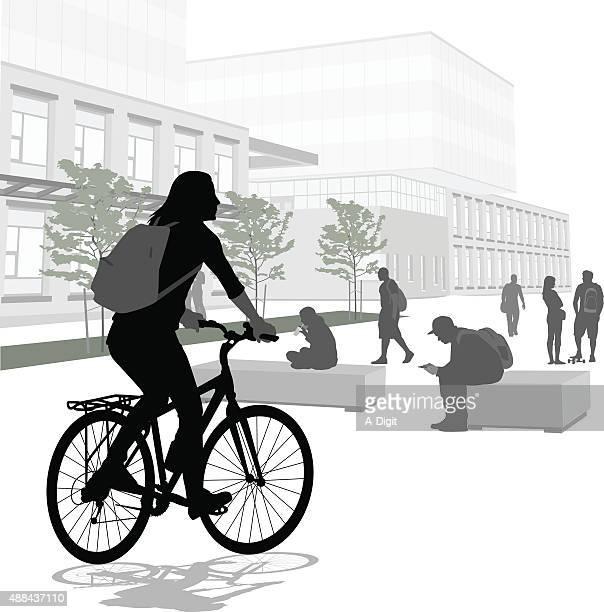 Junge Frau Fahrradfahren in Schule