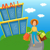 Young woman carrying shopping bags walking out from mall vector Illustration