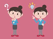 young woman character, posing question and inspiration, vector illustration