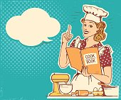 Young woman chef in retro style clothes cooking and holding cook book in the kitchen room. Vector vintage background