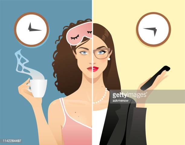 young woman daily rhythms - tired stock illustrations