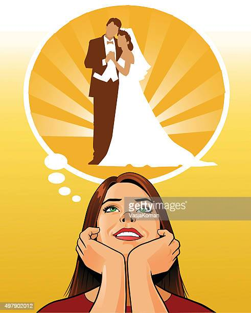 Young Woman Daydreaming About Wedding