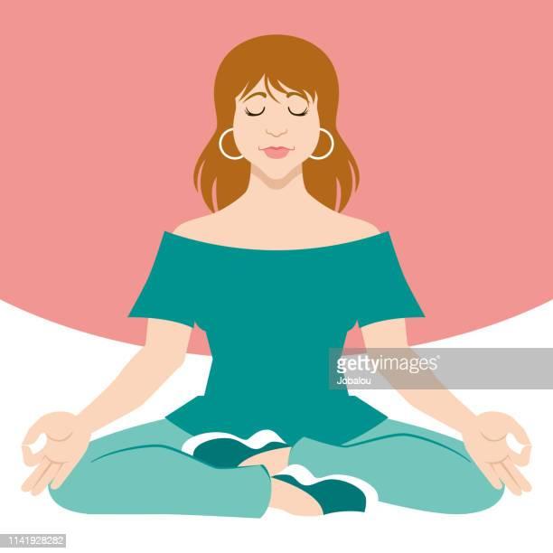young woman doing meditation yoga - lotus position stock illustrations