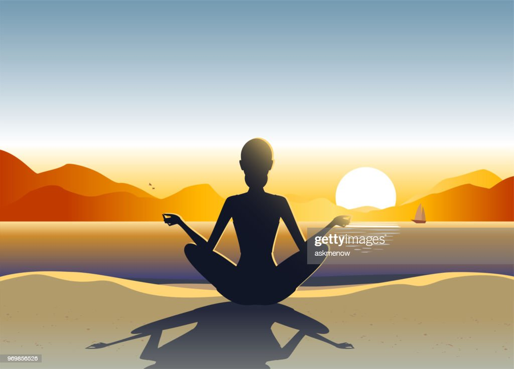 Young woman doing yoga on the beach : Stock Illustration
