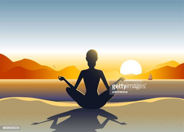 young woman doing yoga on the beach - natural arch stock illustrations, clip art, cartoons, & icons