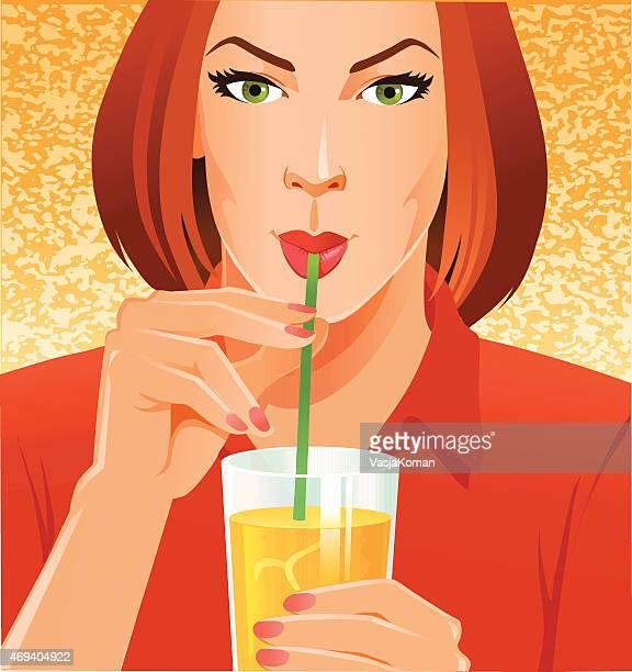 young woman drinking healthy juice with straw - juice drink stock illustrations, clip art, cartoons, & icons