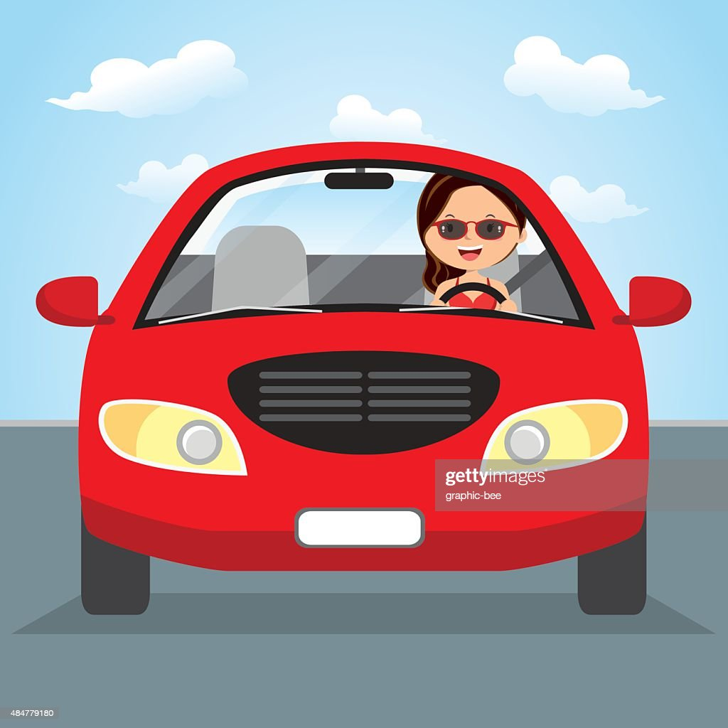 Young woman driving on the road