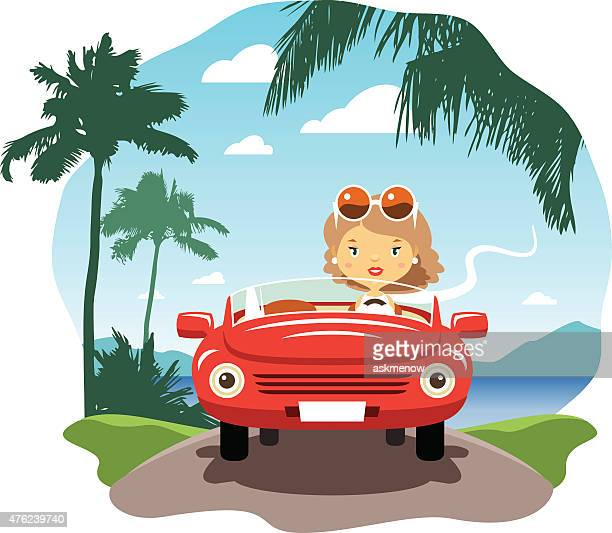 Young woman driving on the vacations
