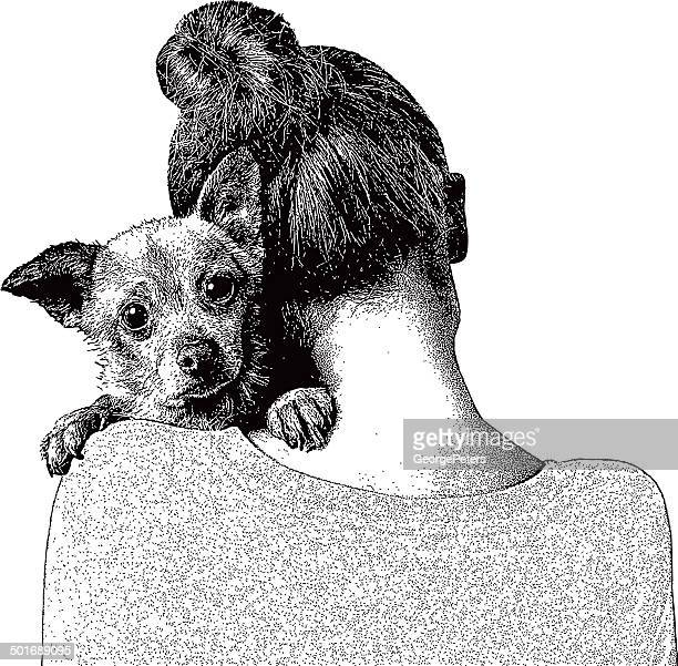 junge frau umarmen hund - trösten stock-grafiken, -clipart, -cartoons und -symbole