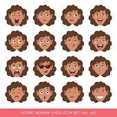 Young woman emoji icon set