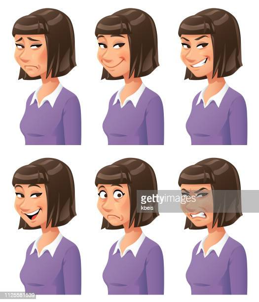 young woman emotions - smirking stock illustrations