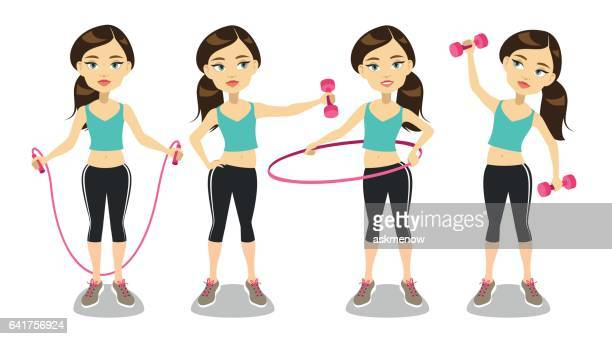 young woman exercising - jump rope stock illustrations, clip art, cartoons, & icons