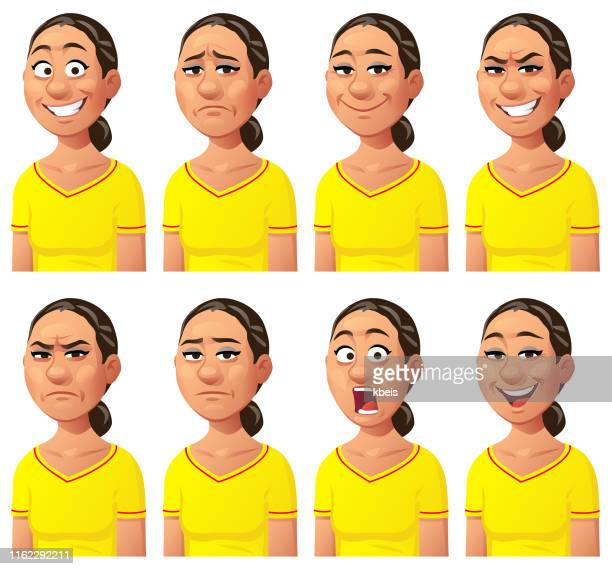 young woman expressing different emotions - part of a series stock illustrations