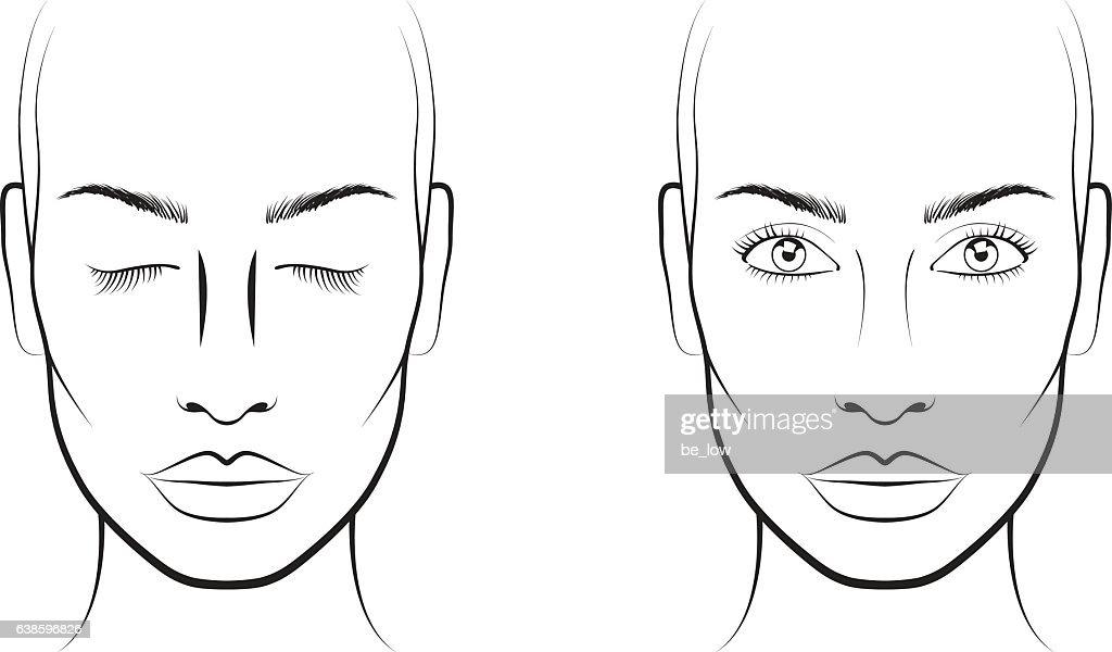 Young Woman Face Chart Makeup Artist Blank Template Clipart