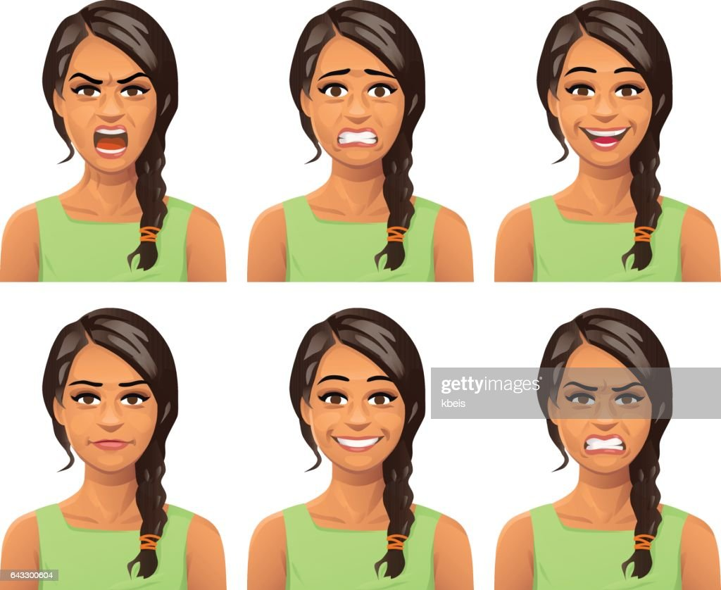 Young Woman Facial Expressions : stock illustration