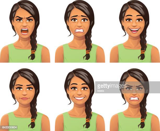 young woman facial expressions - only women stock illustrations, clip art, cartoons, & icons
