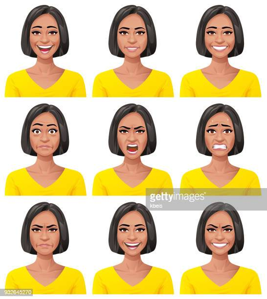 young woman- facial expressions - avatar stock illustrations