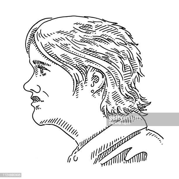 Junge Frau generische Portrait Seitenansicht Zeichnung