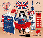 Young woman girl student learning english. Education, foreign language