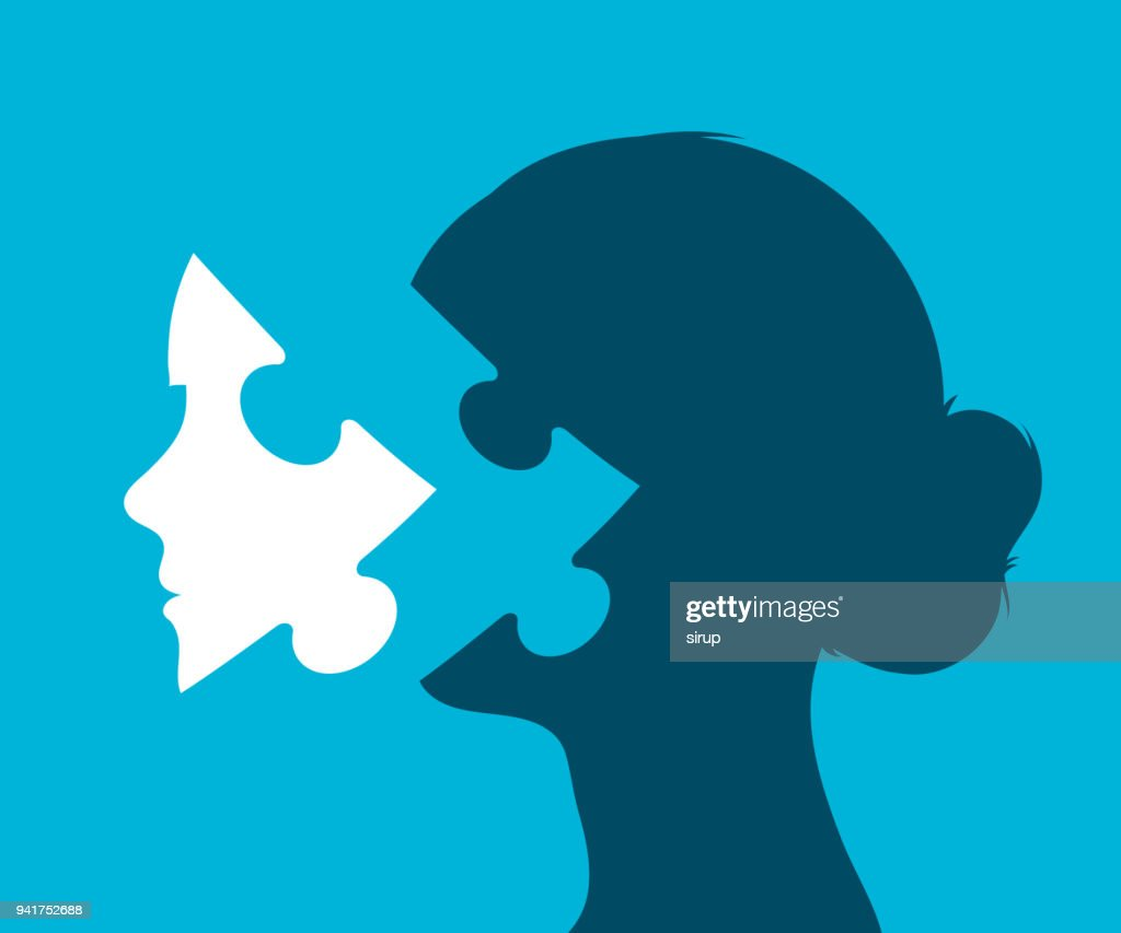 Young woman head with missing puzzle piece : stock illustration
