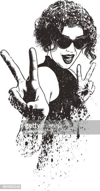 young woman hipster giving the peace sign gesture - dissolving stock illustrations, clip art, cartoons, & icons