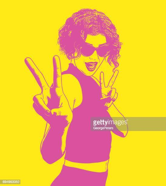 young woman hipster giving the peace sign gesture - sleeveless stock illustrations, clip art, cartoons, & icons