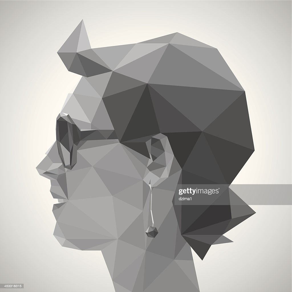 Young woman in origami style